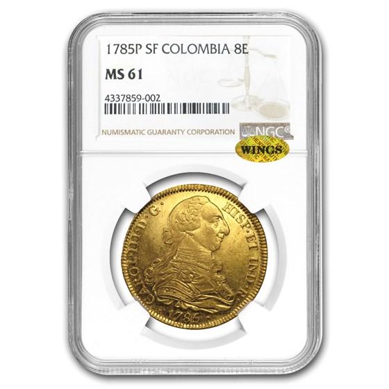1785-P SF Colombia Gold 8 Escudos Carlos III MS-61 NGC