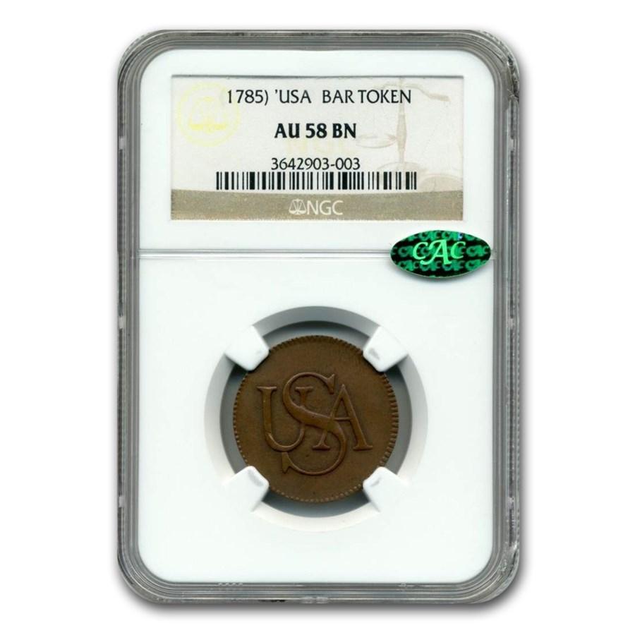 1785 USA Bar Cent AU-58 NGC CAC (Brown)