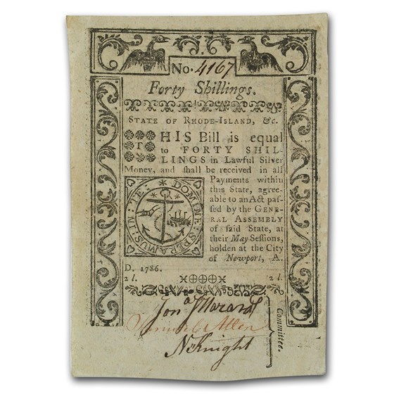 1786 40 Shillings Rhode Island Currency May 1786 AU