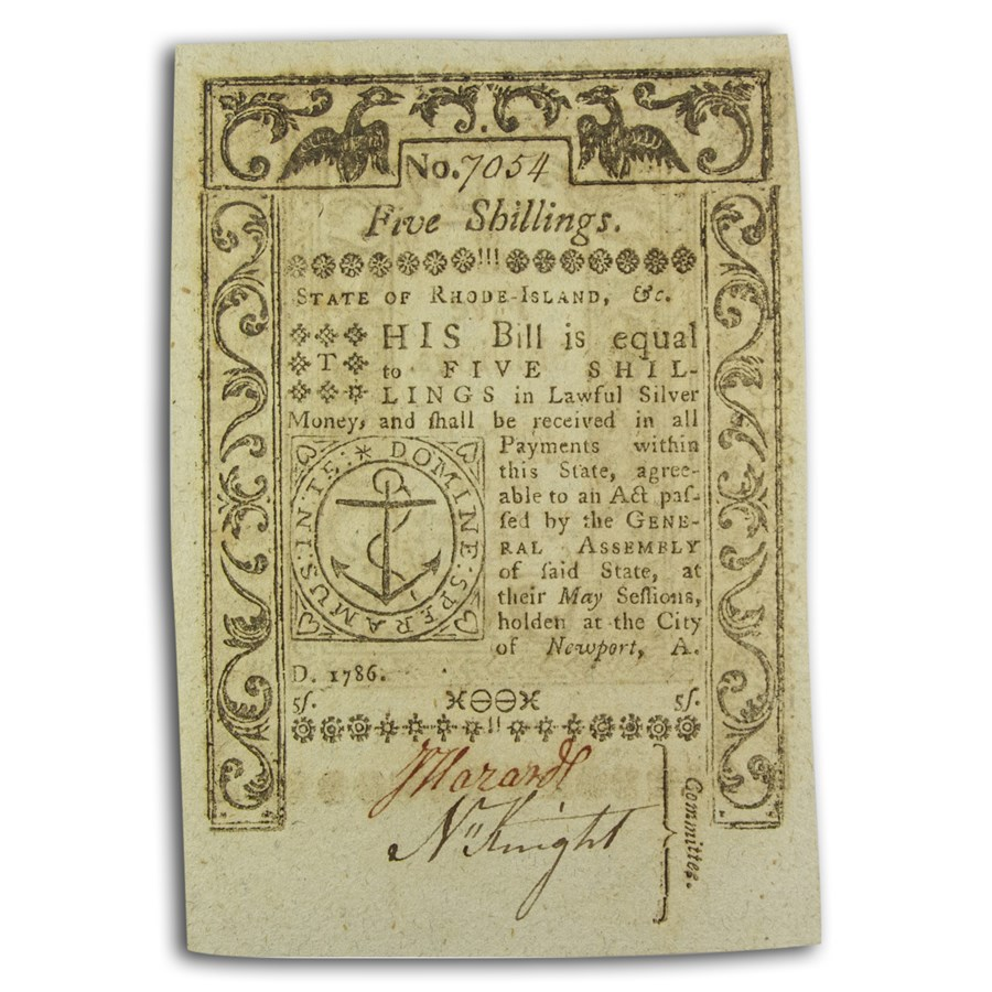 1786 5 Shillings Rhode Island 5/1786 CU (Fr#RI-295)