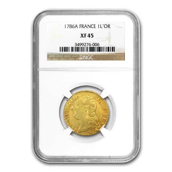 1786-A France Gold Louis D'or XF-45 NGC