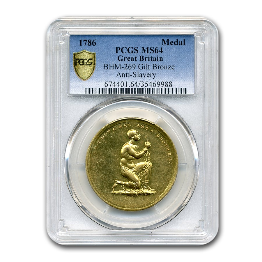 1786 Great Britain Gilt Anti-Slavery Medal MS-64 PCGS