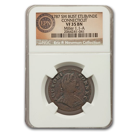 1787 Connecticut Copper Cent VF-35 NGC (BN, Sm Bust, ETLIB/INDE)