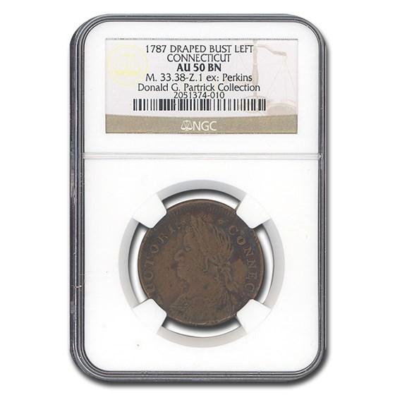 1787 Connecticut Copper Draped Bust AU-50 NGC (Brown)