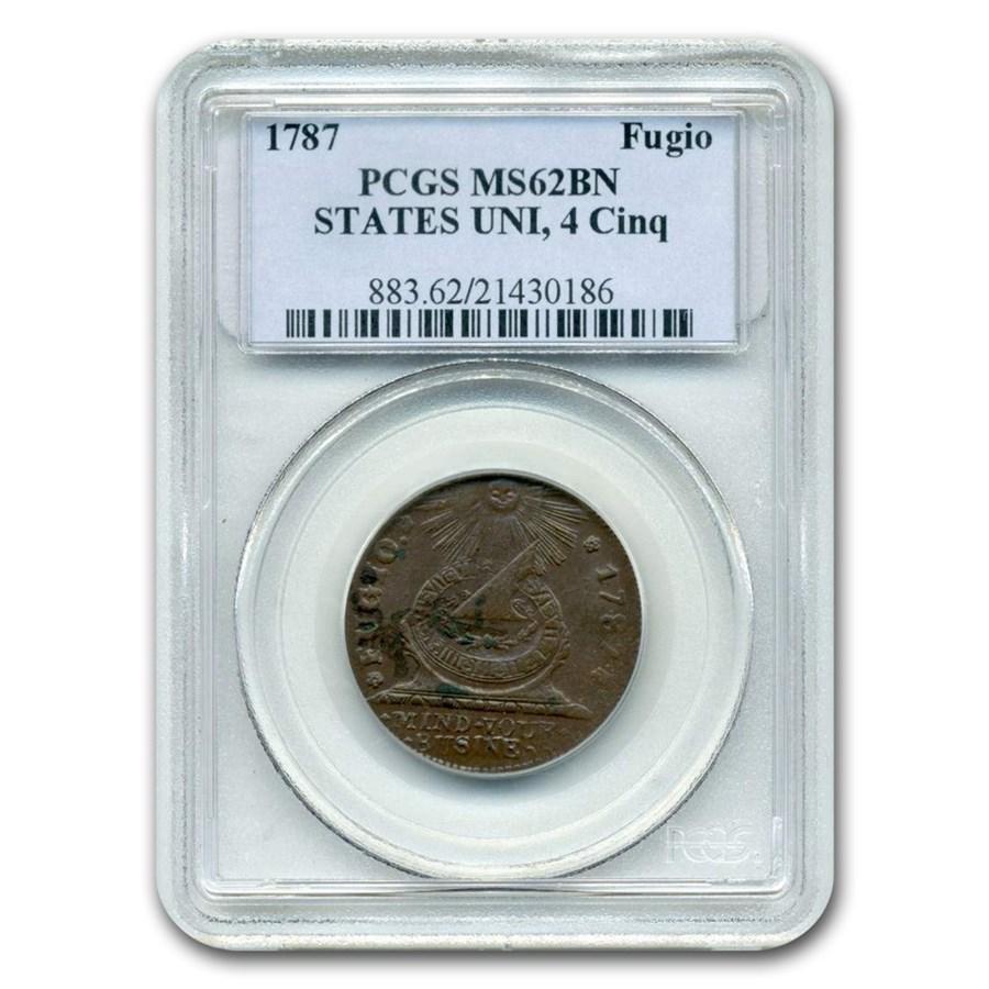 1787 Fugio Cent MS-62 PCGS (Brown, States UNI, 4 Cinq)