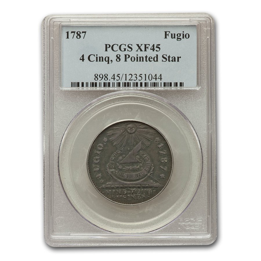 1787 Fugio Cent XF-45 PCGS (Brown, 4 Cinq, 8 Pointed Star)