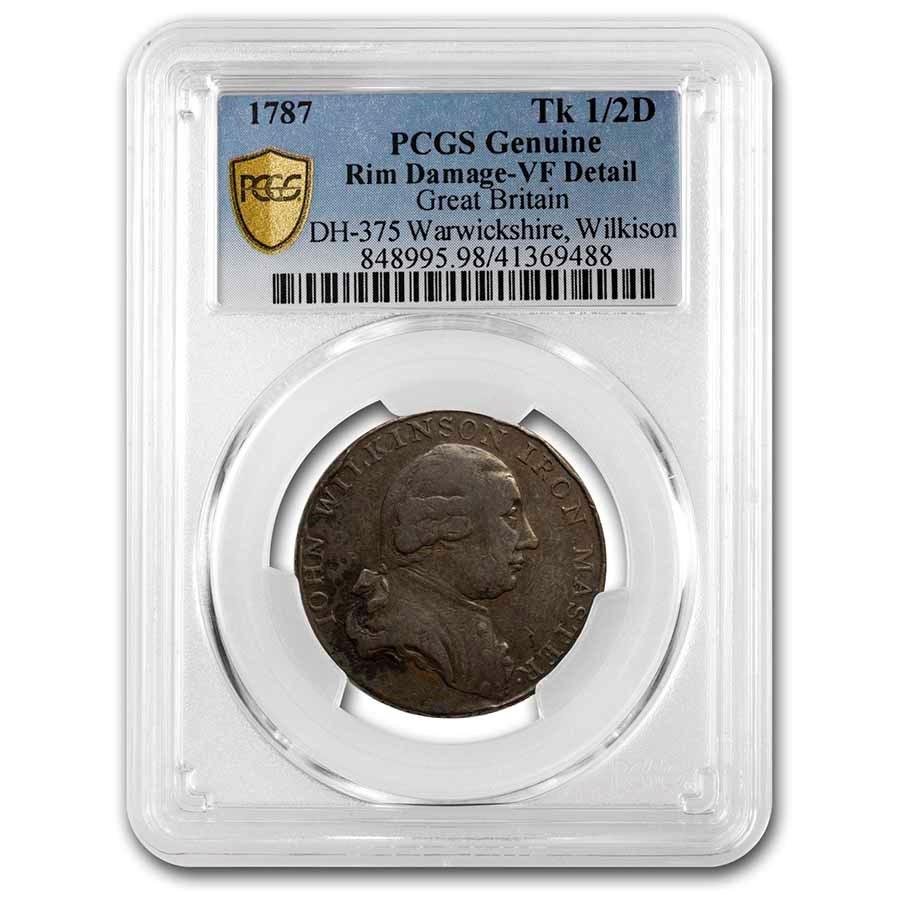 1787 Great Britain Copper Halfpenny Conder Token Genuine PCGS