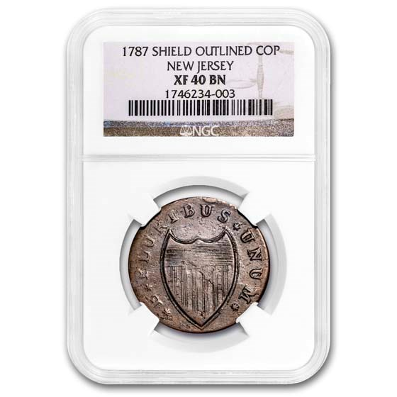 1787 New Jersey Copper Cent Shield Outlined XF-40 NGC (Brown)