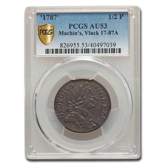 1787 New York Machin's Mills Half Penny AU-53 PCGS (Vlack 17-87A)