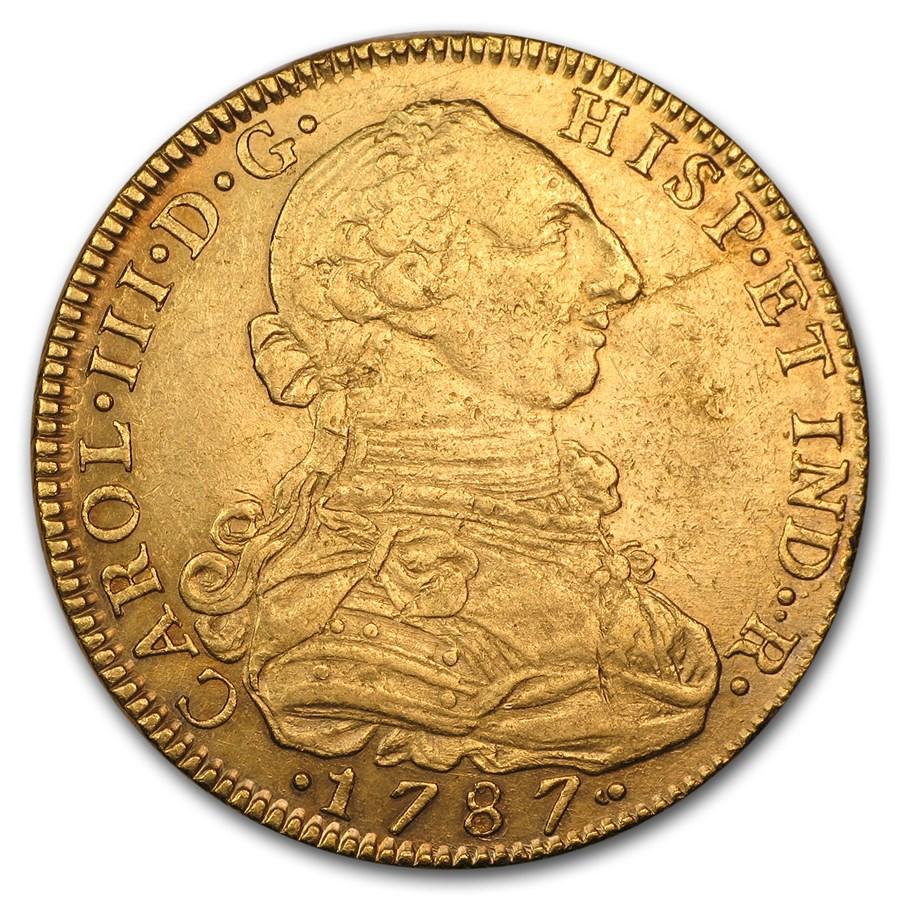 1787 NI Colombia Gold 8 Escudos Charles III AU