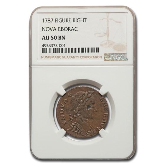 1787 Nova Eborac Copper AU-50 NGC (Brown, Figure Right)