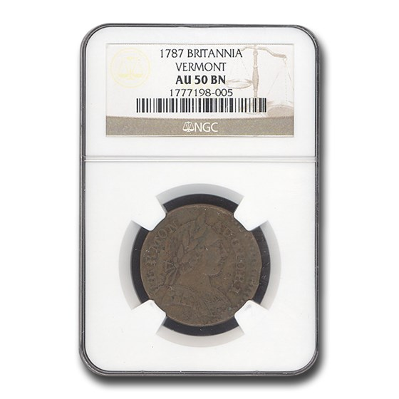 1787 Vermont Britannia AU-50 NGC (Brown)