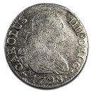 1788-1808 Spanish Empire Silver 2 Reales Charles IV Avg Circ