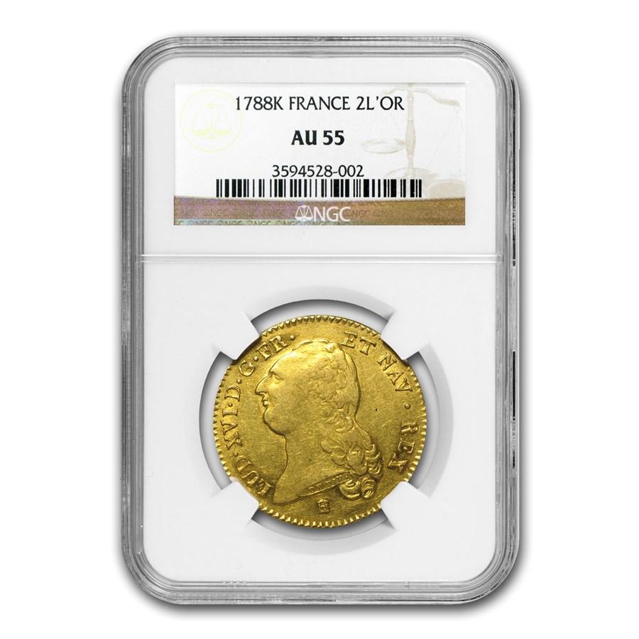 1788-K France Gold 2 Louis D'or AU-55 NGC