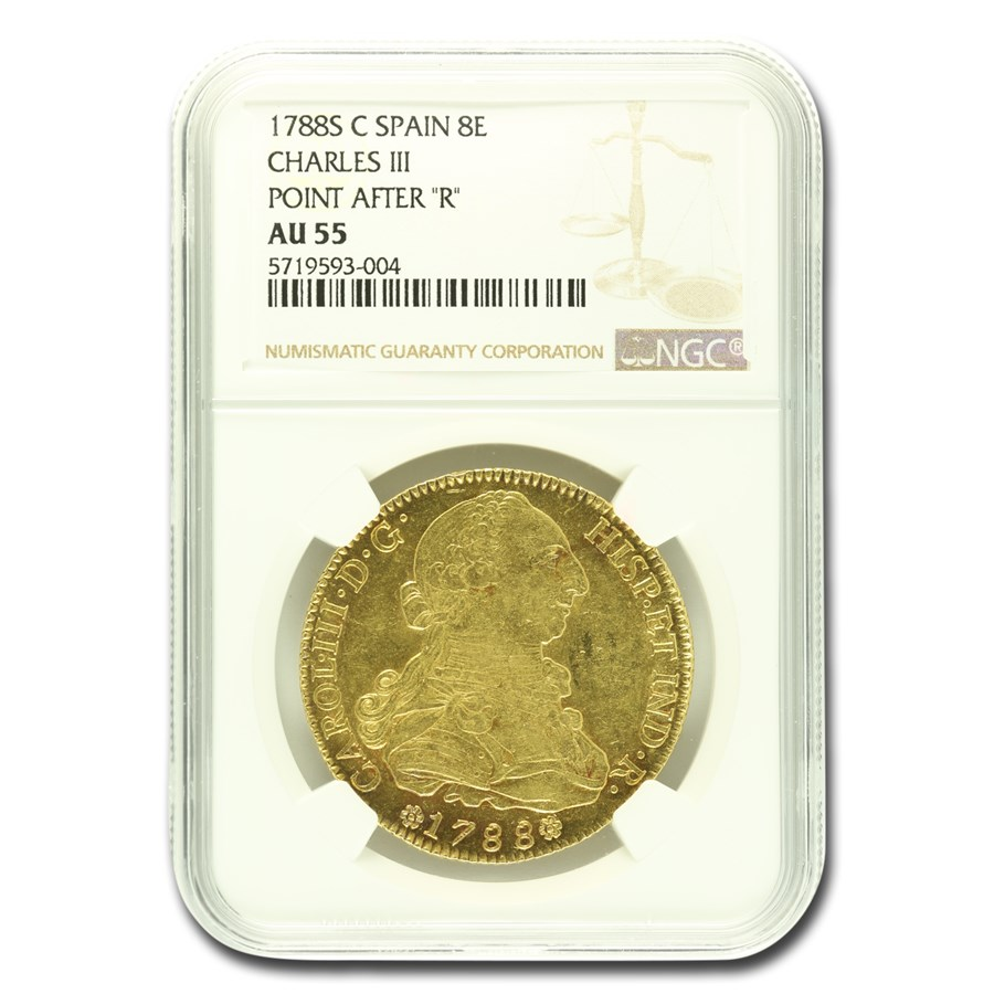 1788-M MF Spain AV 8 Escudo Charles III AU-55 NGC (Point after R)