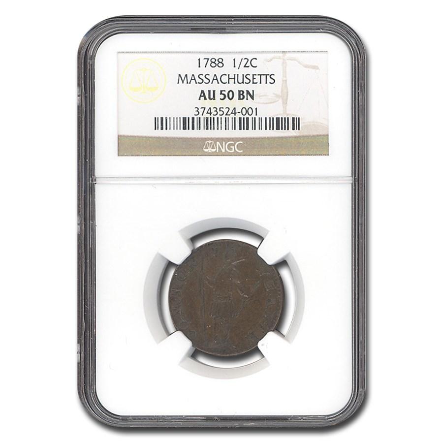 1788 Massachusetts Half Cent AU-50 PCGS (Brown)