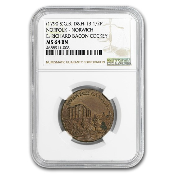 (1790) Condor Token Norfolk E. Richard Cockey MS-64 NGC (Brown)