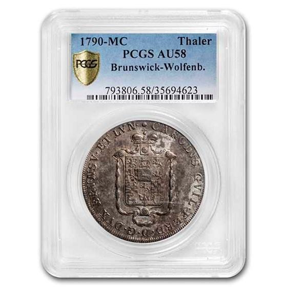 1790-MC German States Brunswick-Wolfenb. Silver Thaler AU-58 PCGS