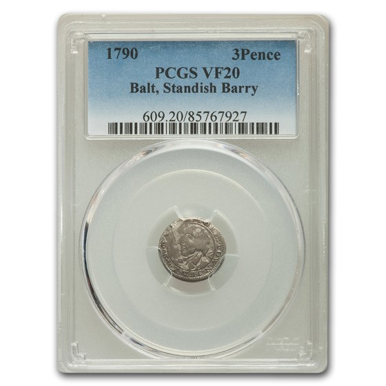 1790 Standish Barry of Baltimore Threepence VF-20 PCGS