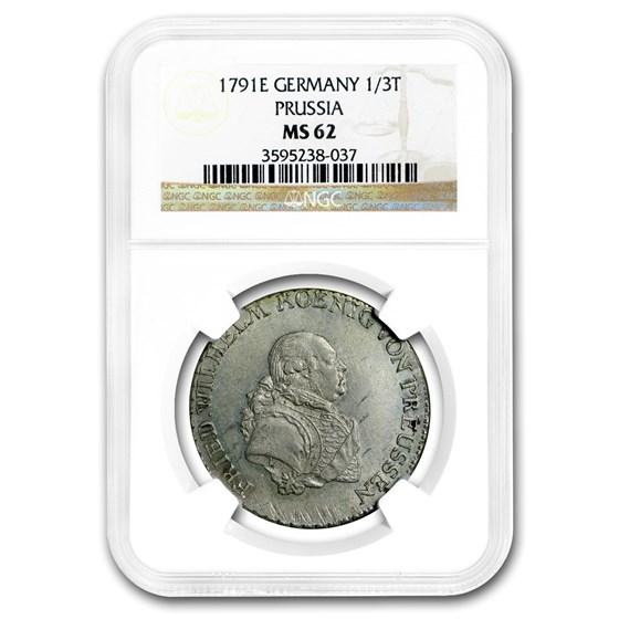1791-E Prussia Silver 1/3 Thaler Fredrick Wilhelm MS-62 NGC