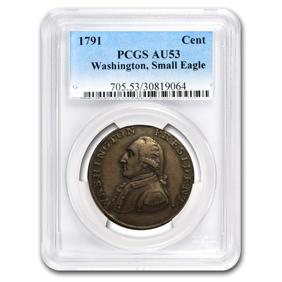 1791 Washington Copper, Small Eagle AU-53 PCGS (Brown)
