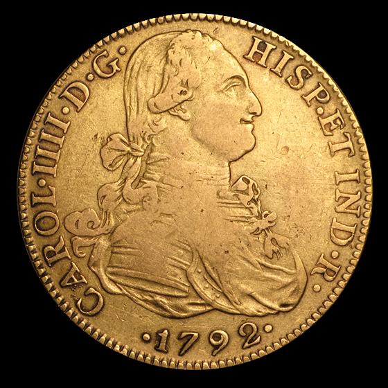 1792-Mo FM Mexico Gold 8 Escudos Carlos IV VF
