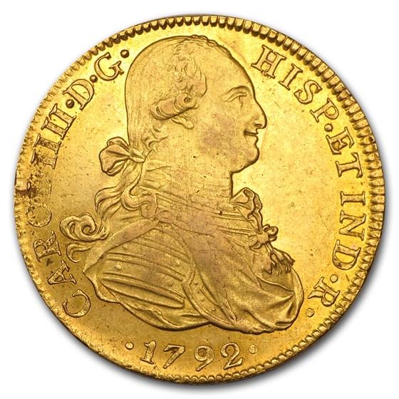 1792-Mo FM Mexico Gold 8 Escudos Charles IIII AU Details