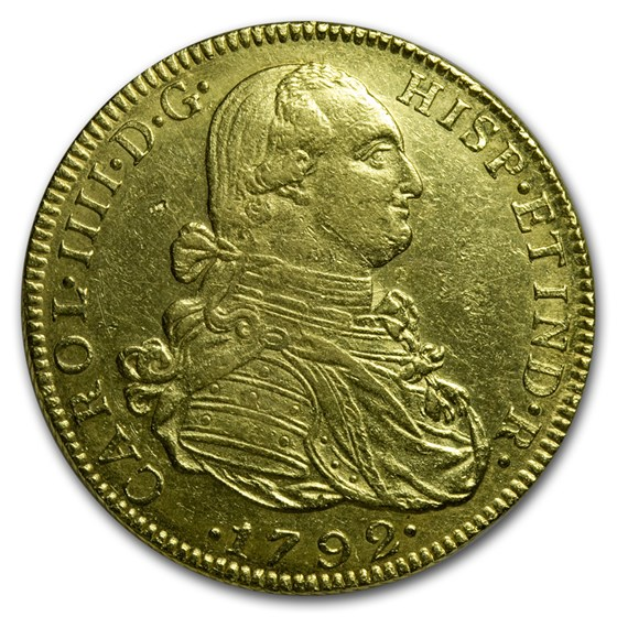 1792-NE Colombia Gold 8 Escudos Charles III AU
