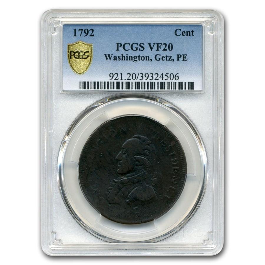 1792 Washington Getz Pattern Cent VF-20 PCGS (Brown)