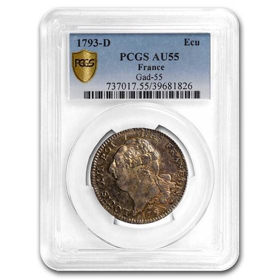 1793-D France Silvr Ecu AU-55 PCGS (Royalist Coinage)
