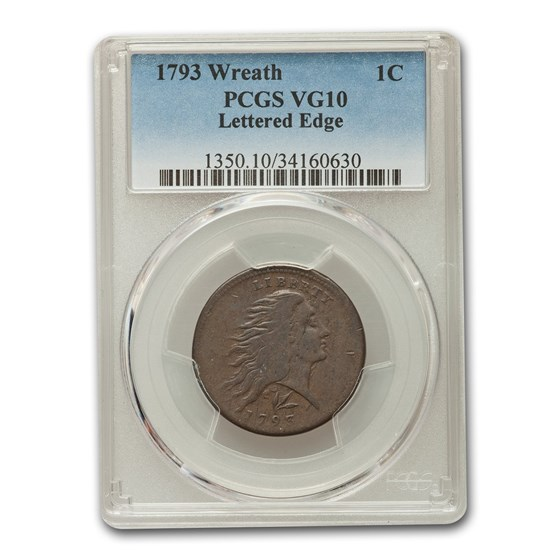 1793 Flowing Hair Cent VG-10 PCGS (Brown, Letted Edge)