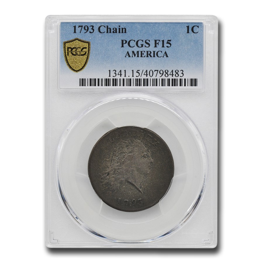 1793 Flowing Hair Chain Large Cent Fine-15 PCGS (America)