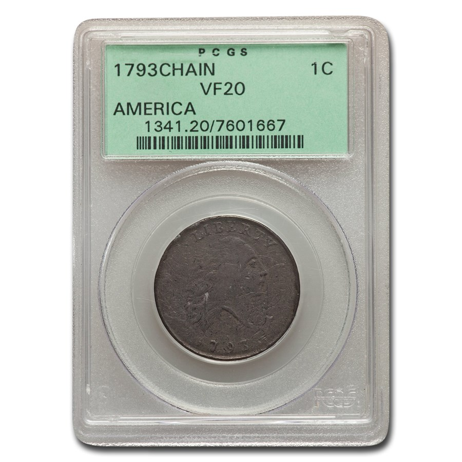 1793 Flowing Hair Chain Large Cent VF-20 PCGS (AMERICA)