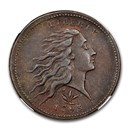 1793 Flowing Hair Large Cent MS-62 NGC (Brown, Wreath Vine & Bar)