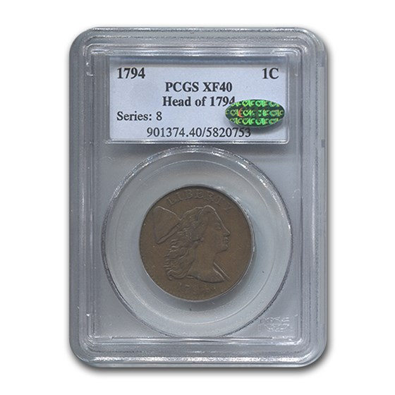 1794 Flowing Hair Large Cent XF-40 PCGS CAC (Brown, Head of 1794)