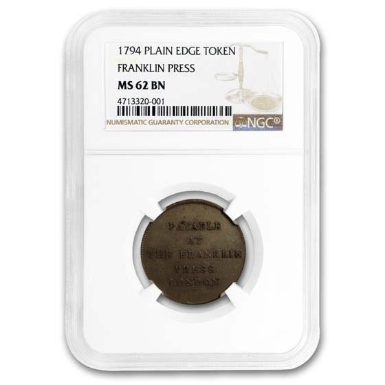 1794 Franklin Press Token, Plain Edge, MS-62 Brown NGC