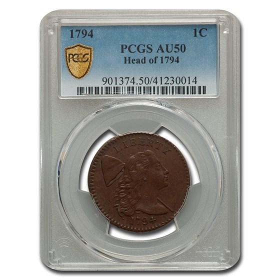 1794 Large Cent AU-50 PCGS (Head of 1794)