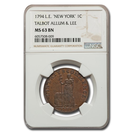 1794 Talbot Allum & Lee Colonial Cent MS-63 NGC (BN, L.E.)