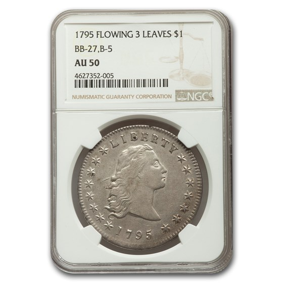 1795 Flowing Hair Dollar AU-50 NGC (3 Leaves, BB-27,B-5)