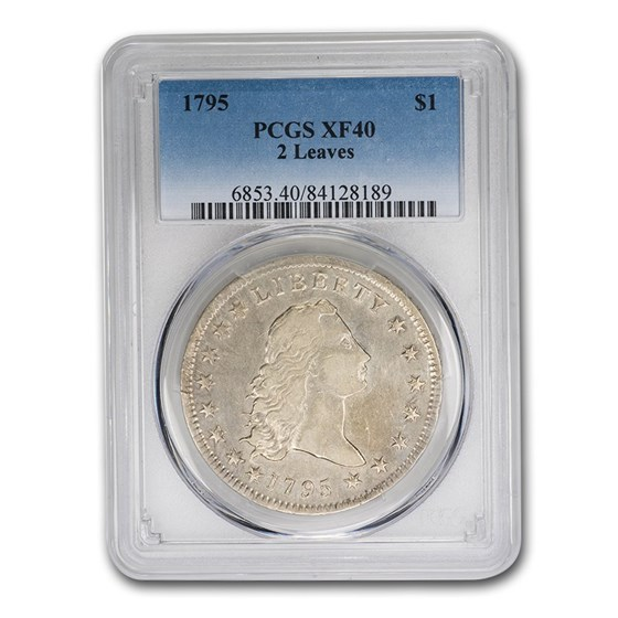 1795 Flowing Hair Dollar XF-40 PCGS (2 Leaves)