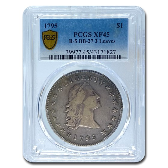 1795 Flowing Hair Dollar XF-45 PCGS (B-5 BB-27 3 Leaves)