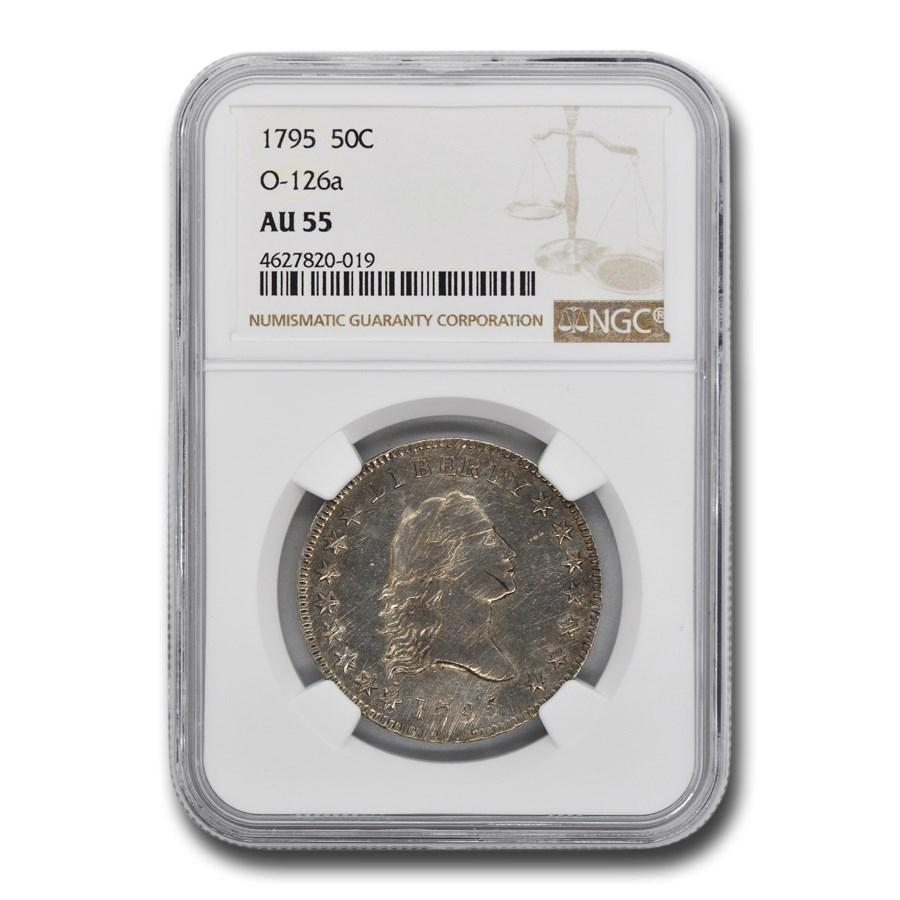 1795 Flowing Hair Half Dollar AU-58 NGC (O-126a)