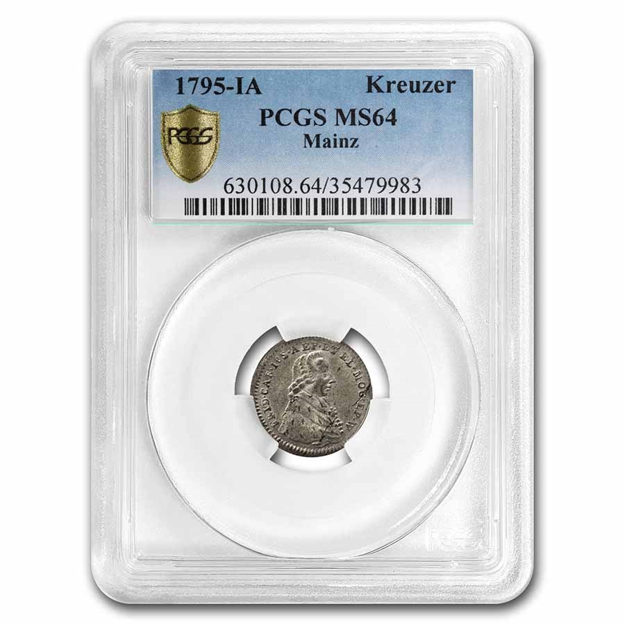 1795-IA Mainz Germany Silver Kreuzer MS-64 PCGS