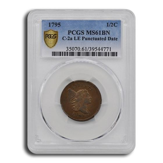1795 Liberty Cap Half Cent MS-61 PCGS (BN, C-2a LE, Punc Date)