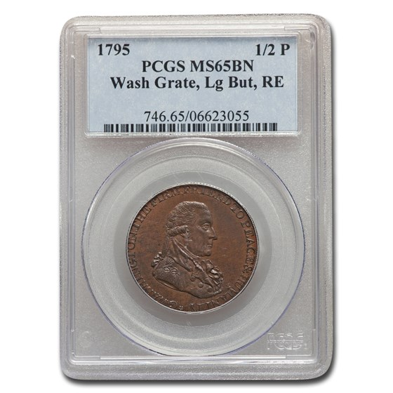 1795 Washington Grate Halfpenny MS-65 PCGS (BN, Lg Buttons, RE)