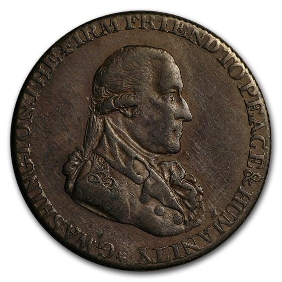 1795 Washington Half Penny Grate Token Choice XF