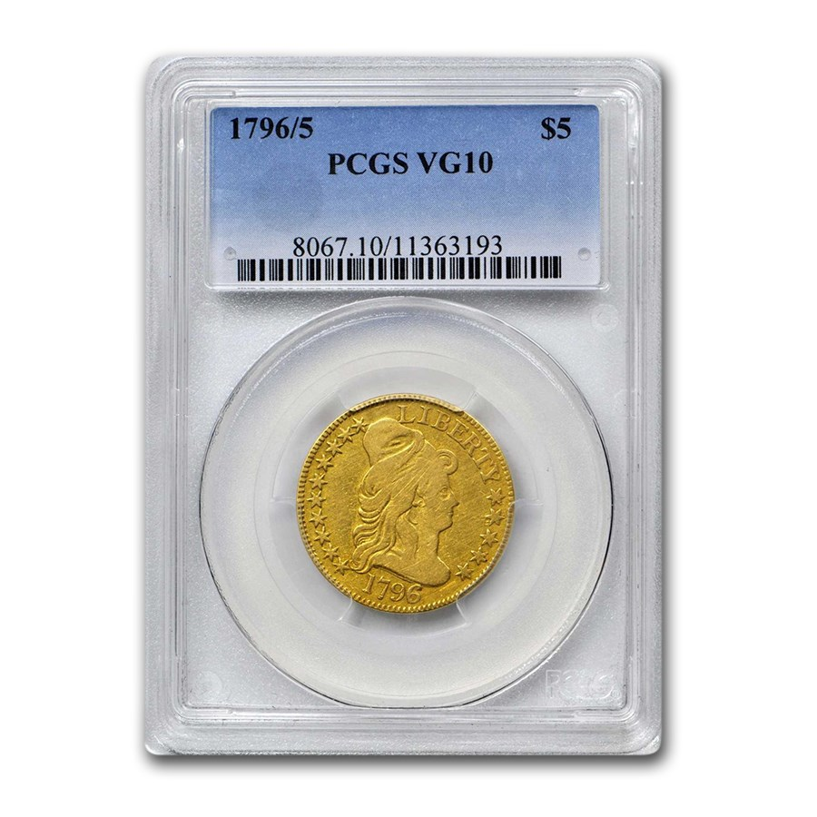 1796/5 $5 Capped Bust Gold Half Eagle VG-10 PCGS