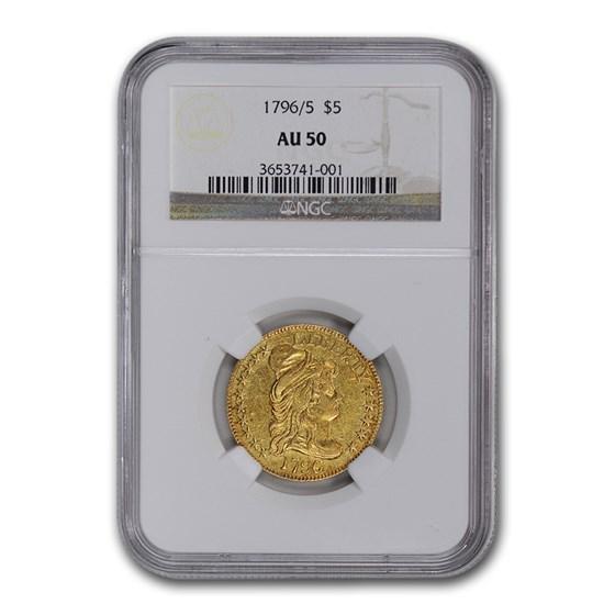 1796/5 $5 Turban Head Gold Half Eagle AU-50 NGC (BD-1)