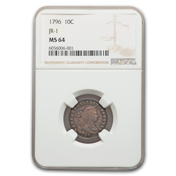 1796 Draped Bust Dime MS-64 NGC