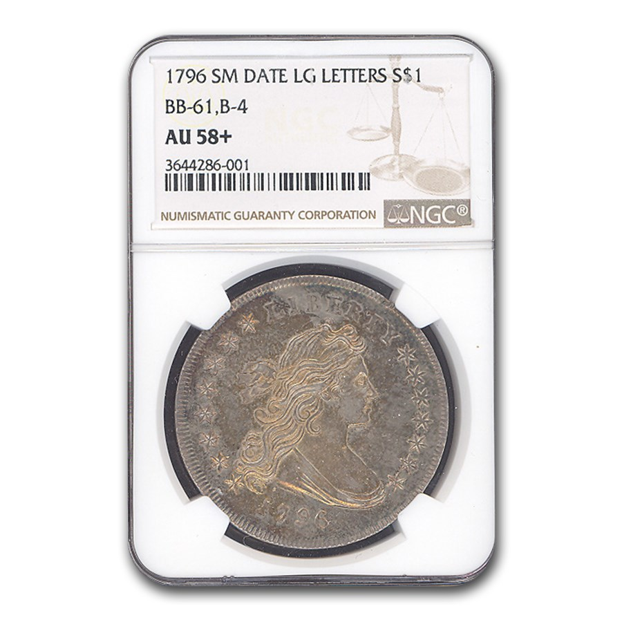 1796 Draped Bust Dollar AU-58+ NGC (Sm Date, Lg Letters)